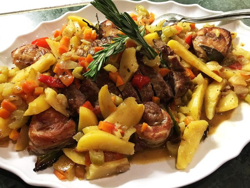 Meat strips with ​​potatoes